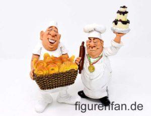 Funny Job Figuren Bäcker mit Brotkorb und Konditor mit Knetrolle und Torte