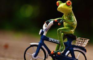 Figur Frosch auf einem Fahrrad