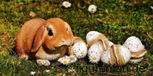 Osterhase mit Eiern Polysterin Kunstharz