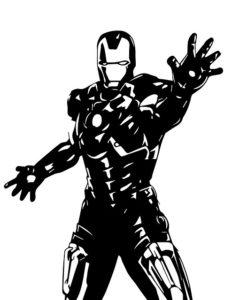 Iron Man in schwarz weiss
