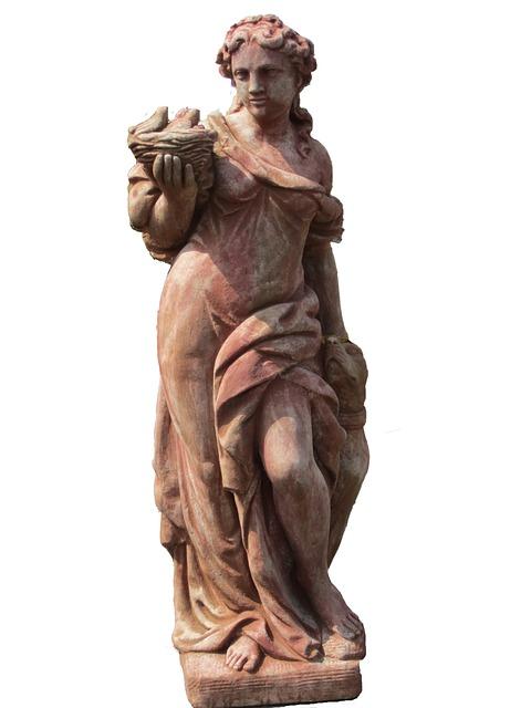 Barocke wetterfeste Gartenstatue Frau im Gewand mit Korb
