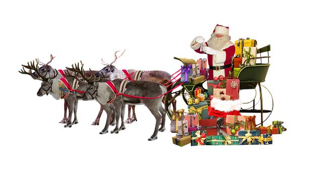 Weihnachtsmann mit Rentiergespann