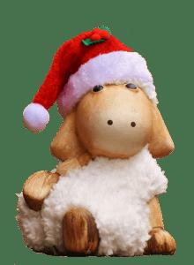 Weihnachtslamm mit Mütze