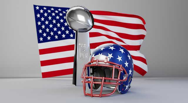 US Flagge Football Helm und Pokal