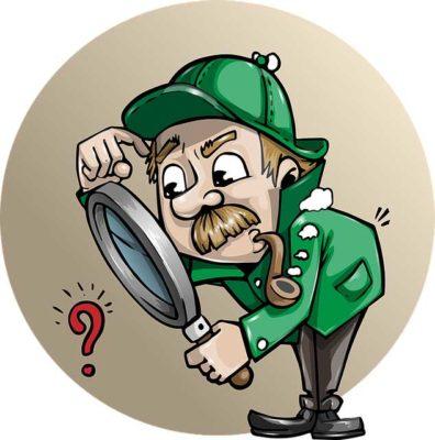 Detektiv mit Lupe für Umfrage